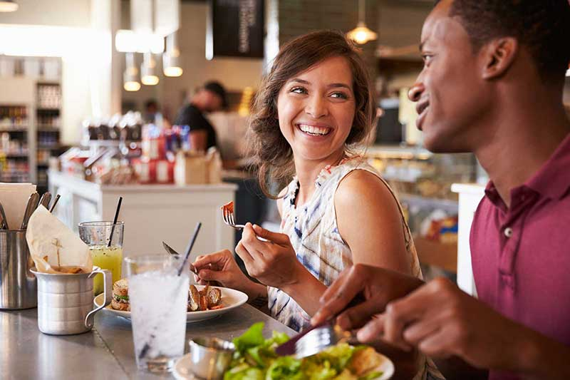 Friends eating lunch