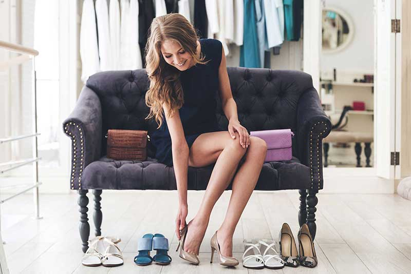 Lady trying on shoes
