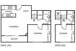 2 Bedroom 2 Bath Townhome 950 sqft floor plan