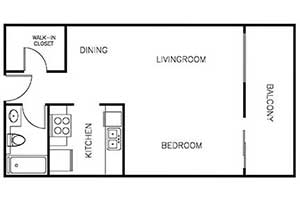 Studio 518 Sqft floor plan