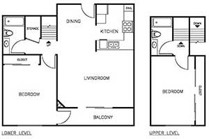 2 Bedroom 2 Bath 950 sqft floor plan layout 2