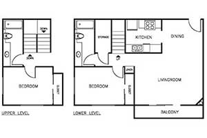 2 Bedroom 2 Bath 950 sqft floor plan