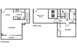 1 Bedroom 1 Bath Townhome 875 sqft floor plan layout 2
