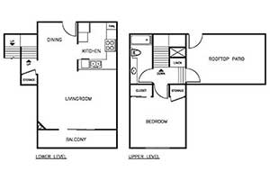1 Bedroom 1 Bath Townhome 875 sqft floor plan
