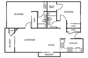 2 Bedroom 2 Bath 900 sqft floor plan layout 3
