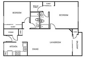 2 Bedroom 2 Bath 900 sqft floor plan layout 2