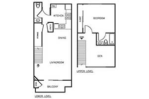 1 Bedroom 1.5 Bath Townhome 875 sqft floor plan layout 2