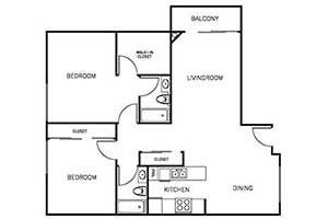 2 Bedroom 2 Bath 900 sqft floor plan