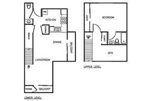 1 Bedroom 1.5 Bath Townhome 900 sqft floor plan