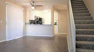 Living room, kitchen, stairs