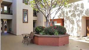 Emerson apartment complex exterior lounge area